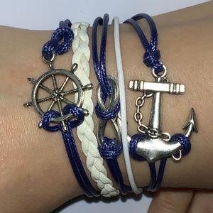 Jewelry - Blue White Nautical Stacked Charm Bracelet